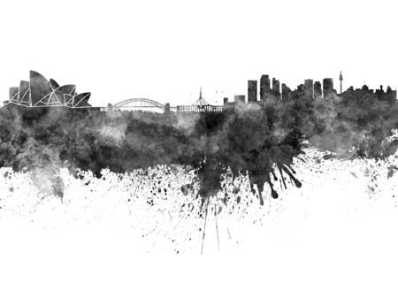 sydney: Sydney skyline in black watercolor