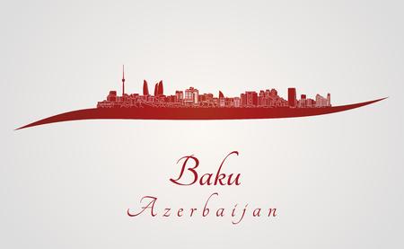 azerbaijan: Baku skyline in red and gray background in editable vector file Illustration