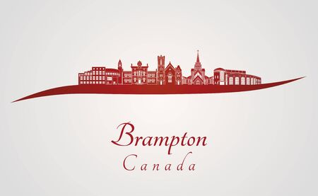 ontario: Brampton skyline in red and gray background in editable vector file Illustration