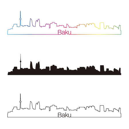 baku: Baku skyline linear style with rainbow in editable vector file Illustration