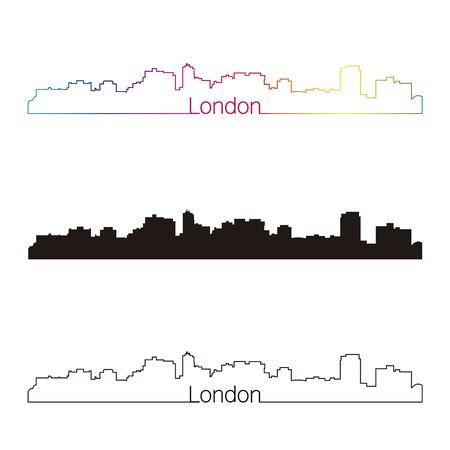 london skyline: London skyline linear style with rainbow in editable vector file