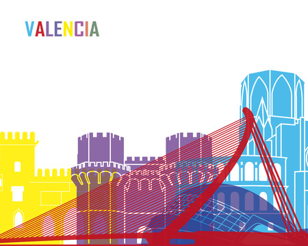 Valencia skyline pop in editable vector file