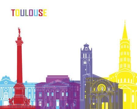 toulouse: Toulouse skyline pop in editable vector file