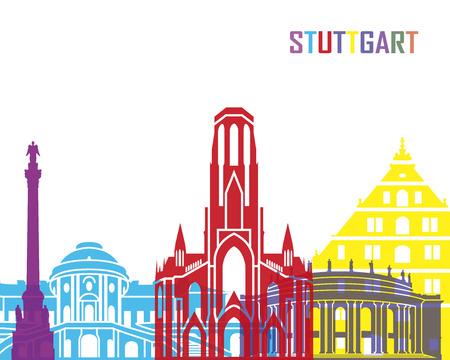 stuttgart: Stuttgart skyline pop in editable vector file