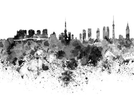 Tokyo skyline in black watercolor
