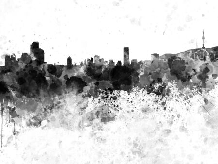 seoul: Seoul skyline in black watercolor