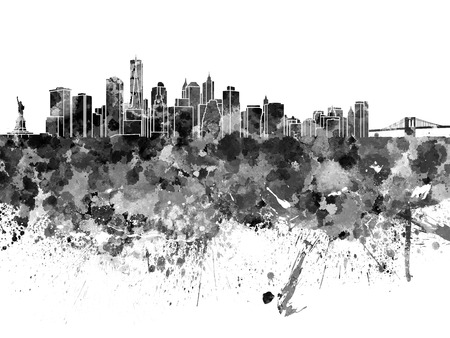 new york skyline: New York skyline in black watercolor