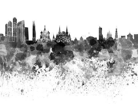 Moscow skyline in black watercolor Banco de Imagens - 46522528