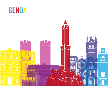 Genoa skyline pop in editable vector file Illustration