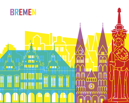 bremen: Bremen skyline pop in editable vector file
