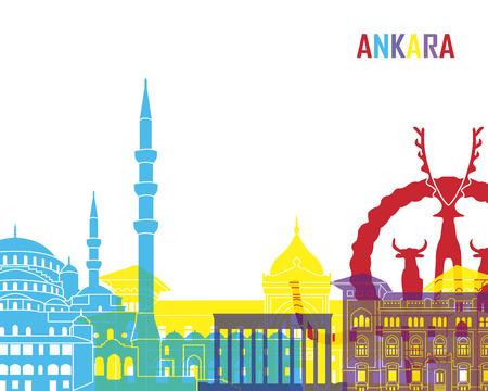monument: Ankara skyline pop in editable vector file