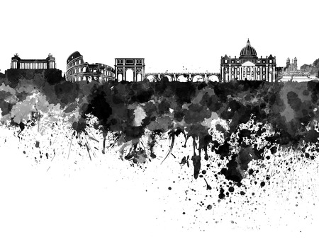 rome: Rome skyline in black watercolor
