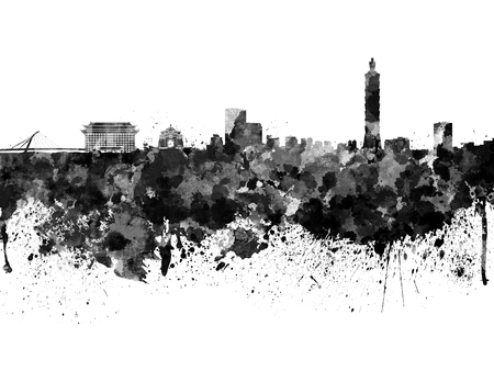 Taipei skyline in black watercolor