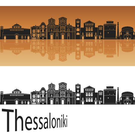 Thessaloniki skyline in orange background in editable vector file Illustration