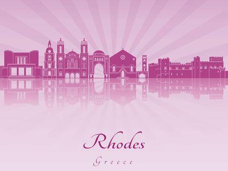 radiant: Rhodes skyline in purple radiant orchid in editable vector file Illustration