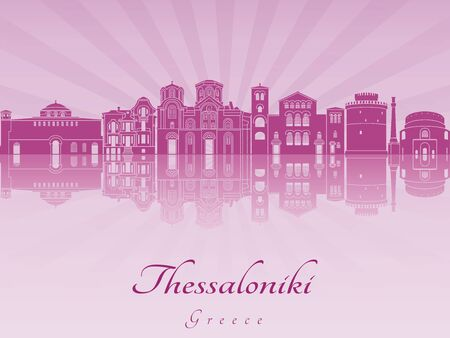 Thessaloniki skyline in purple radiant orchid in editable vector file Illustration