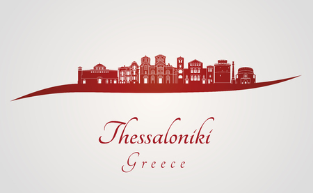 Thessaloniki skyline in red and gray background in editable vector file