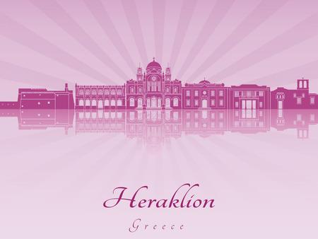 radiant: Heraklion skyline in purple radiant orchid in editable vector file