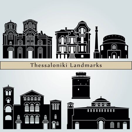 Thessaloniki landmarks and monuments isolated on blue background in editable vector file