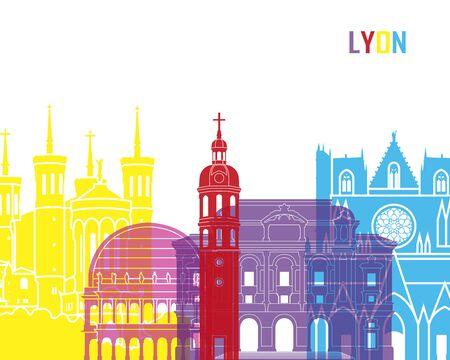 lyon: Lyon skyline pop in editable vector file Illustration