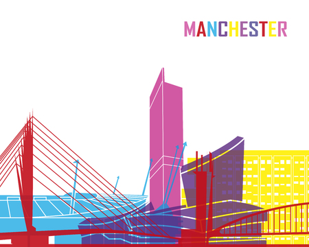 manchester: Manchester skyline pop in editable vector file