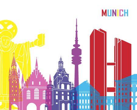 m�nchen: München skyline pop in bewerkbare vector-bestand