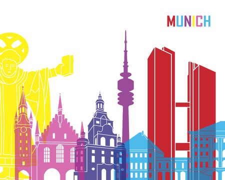Munich skyline pop in editable vector file