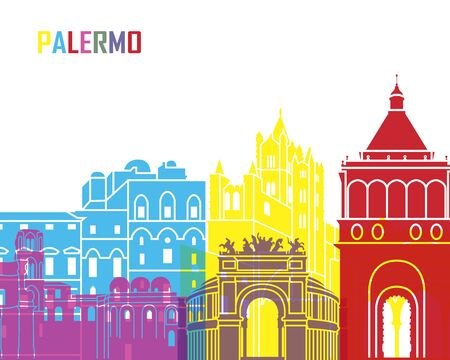 monuments: Palermo skyline pop in editable vector file