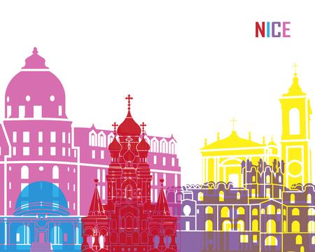 nice france: Nice skyline pop in editable vector file Illustration
