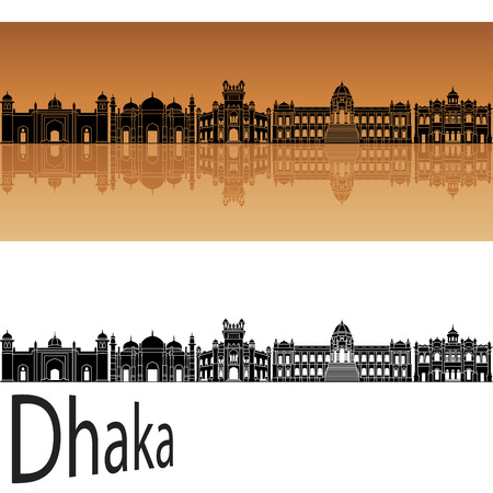 dhaka: Dhaka skyline in orange background in editable vector file