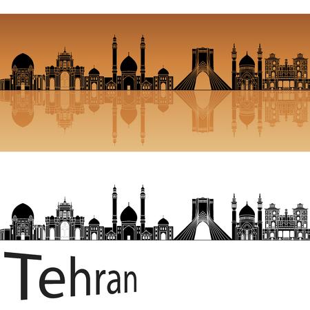 silhouette silhouettes: Tehran skyline in orange background in editable vector file