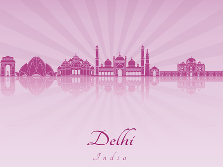 radiant: Delhi skyline in purple radiant orchid in editable vector file