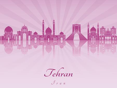 radiant: Tehran skyline in purple radiant orchid in editable vector file