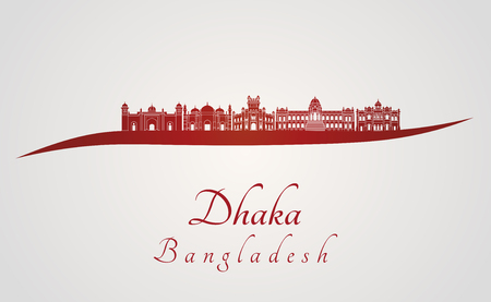 dhaka: Dhaka skyline in red and gray background in editable vector file Illustration