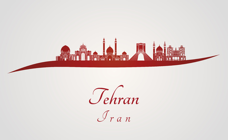 skyline: Tehran skyline in red and gray background in editable vector file