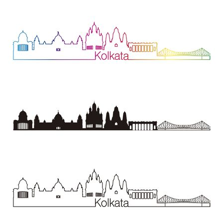 kolkata: Kolkata skyline linear style with rainbow in editable vector file Illustration