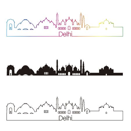 skyline city: Delhi skyline linear style with rainbow in editable vector file