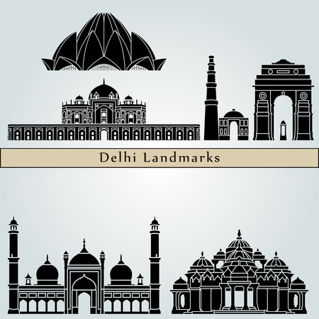 monuments: Delhi landmarks and monuments isolated on blue background in editable vector file