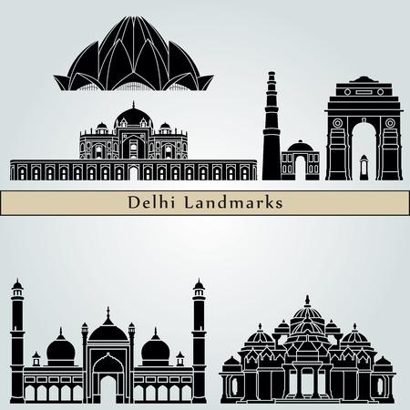 monumento: los monumentos de Delhi aislados sobre fondo azul en el archivo vectorial editable