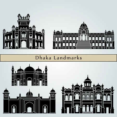 bangladesh: Dhaka landmarks and monuments isolated on blue background in editable vector file