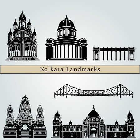 monuments: Kolkata landmarks and monuments isolated on blue background in editable vector file