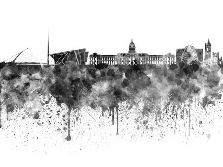 dublin: Dublin skyline in black watercolor Stock Photo