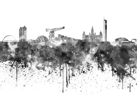 watercolour background: Glasgow skyline in black watercolor