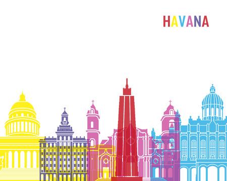 havana: Havana skyline pop in editable vector file Illustration