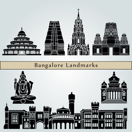 monuments: Bangalore landmarks and monuments isolated on blue background in editable vector file