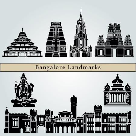 los monumentos de Bangalore aislados sobre fondo azul en el archivo vectorial editable Vectores