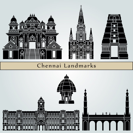 Chennai landmarks and monuments isolated on blue background in editable vector file