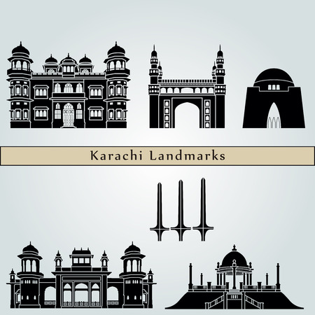 karachi: Karachi landmarks and monuments isolated on blue background in editable vector file Illustration