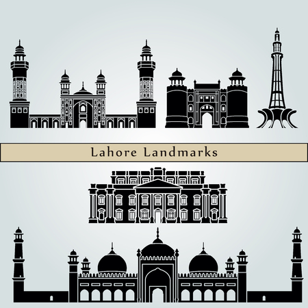 pakistan: Lahore landmarks and monuments isolated on blue background in editable vector file