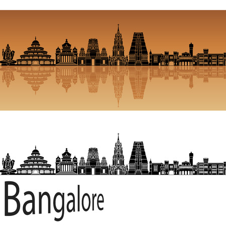 Bangalore skyline in orange background in editable vector file